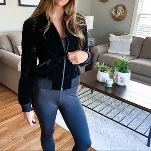 ALICE + OLIVIA •black velvet quilted bomber jacket